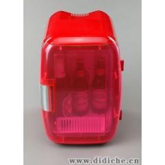 16L红色透明门汽车小冰箱,车载家用冰箱,电子冷暖箱