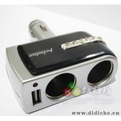 车载点烟器 汽车点烟器插座 一分二带钻点烟器插座带usb WF-201