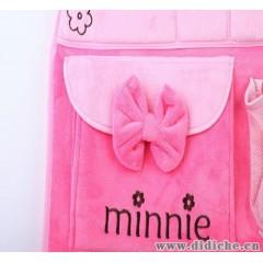 供应正版迪士尼椅背收纳袋 粉色可爱米妮毛绒收纳袋