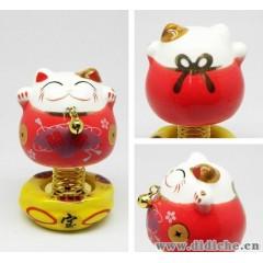 汽車內飾|擺件飾品批發|正品陶瓷招財貓|彈簧貓|寶扇開運|紅色