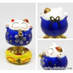 汽車內飾|擺件飾品批發|正品陶瓷招財貓|彈簧貓|大櫻花|藍色