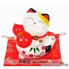 招財貓擺件|平安車飾|祝愿貓車飾|吉祥禮物陶瓷車內飾品促銷