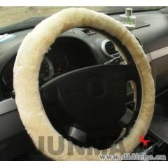 澳腾品牌新款时尚防滑方向盘套羊剪绒羊毛把套真皮汽车方向盘套